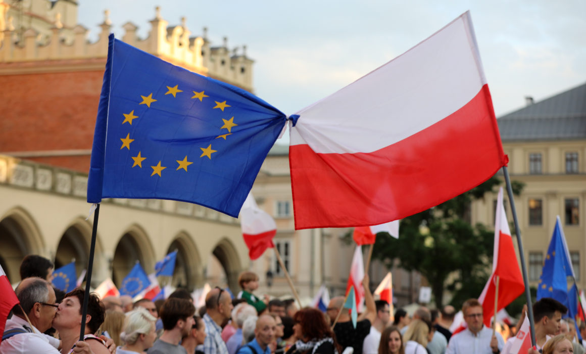 JULY 23, 2017: Cracow - People protest against violation the constitutional law in Poland.